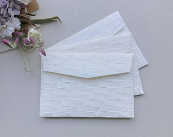 """20pcs A7 5x7"""" White Embossed Recycled Handmade Mulberry Paper Envelopes"""