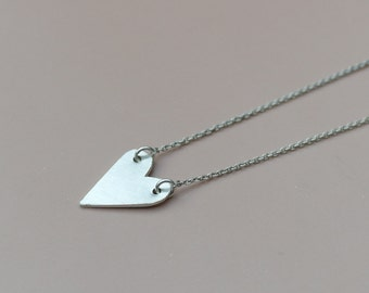 Heart necklace sterling silver necklace love necklace heart jewelry handmade necklace friendship jewelry minimal necklace - amejewels