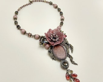 Beaded boho necklace flowers 3D - exclusive unique handmade pendant - fashion 2018 - brown wine red OOAK jewelry - statement floren beadwork