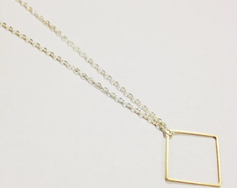Geometric Square Necklace, Raw Brass Square Necklace, Dainty Square Necklace, Square Shape, Minimal Geometric Necklace
