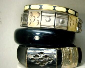 Lot of 4 Black n Silver Bangle Bracelets,  Vintage Metal Boho Bone Metal and Plastic from Hong Kong Bracelets, 1960s BOHO Treasures