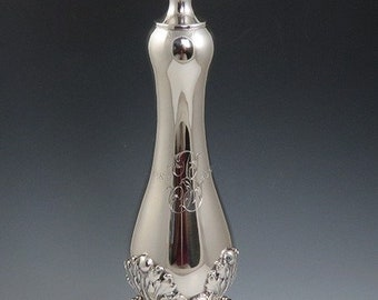 Superb c1908 American Sterling Silver High Victorian / Rococo Style Candlestick
