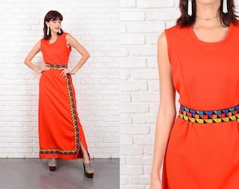 Vintage 70s Red Maxi Dress Geometric Print Geo Mod Medium M 10580