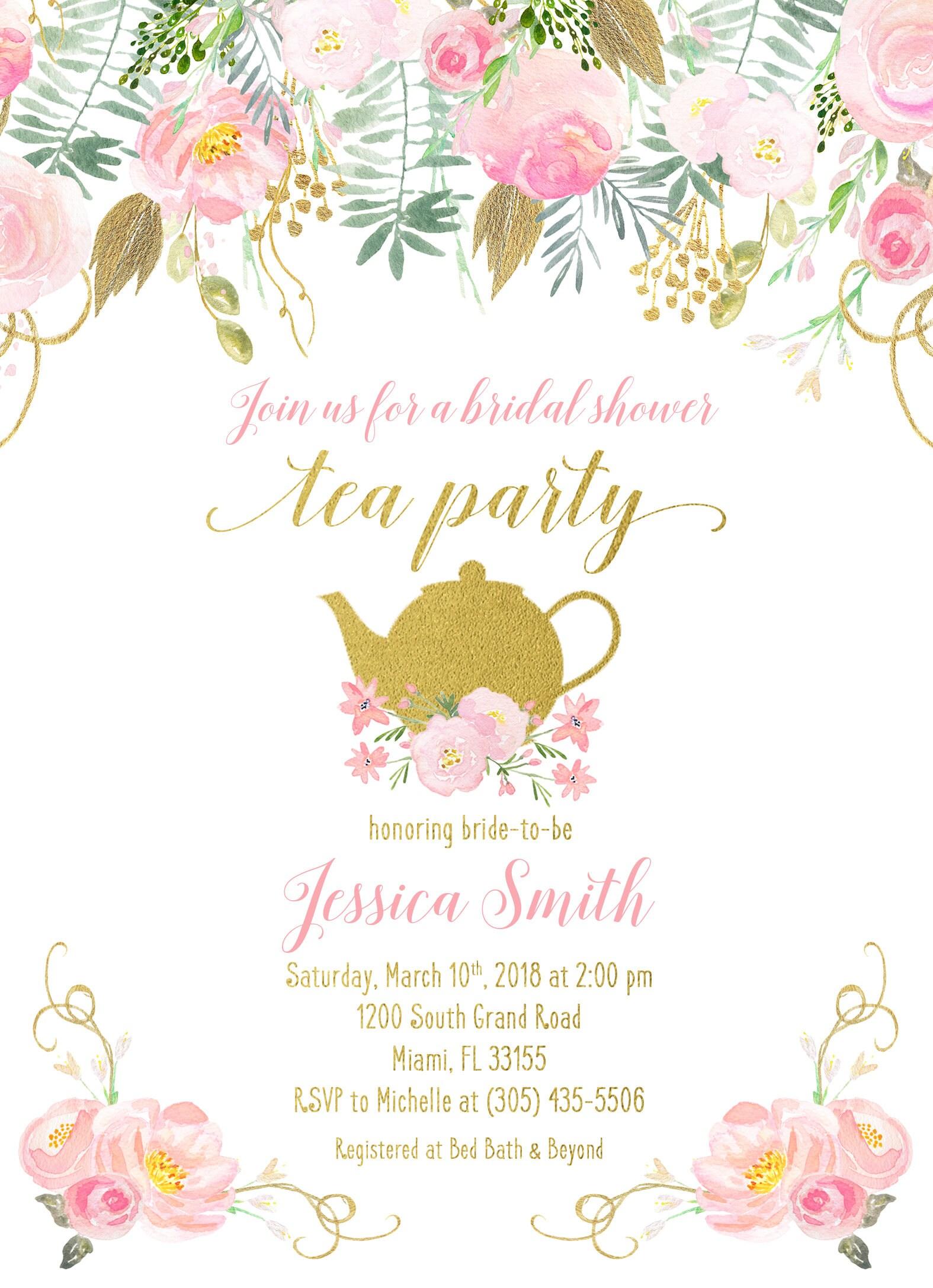 Tea Party Invitation, Bridal Shower Invitation, Bridal Tea ...