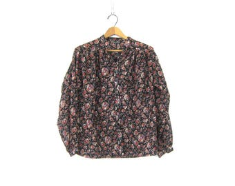 Sheer Floral Top Long Sleeve Billowy Blouse Flower Pattern Print Button Up Shirt Boho Chic Vintage Womens size Medium Large