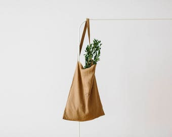 Khaki linen tote, camel linen tote, mothers day gift, khaki linen bag, market bag, shoulder bag, reusable tote, shopping tote, birthday gift
