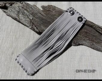 Cuff Bracelet strappy leather light grey - wrist circumference 16cm