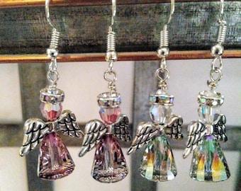 Heavenly Angel Swarovski Earrings; Angel earrings; Swarovski angel earrings; Swarovski beaded angel earrings; Unique angel beaded earrings