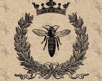 Vintage black and white image Queen Bee Crown Honeybee Instant Download Digital printable picture clipart graphic transfer burlap HQ300dpi
