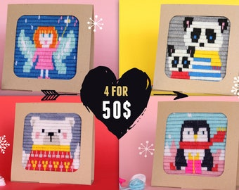 Tapestry, craft kits for kids, gift craft kit, needlepoint kits, beginner, embroidery kits for kids, kit tapestry, framed needlepoint, panda