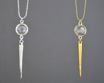 Quartz Spike Necklace || 14k Gold Filled || Sterling Silver