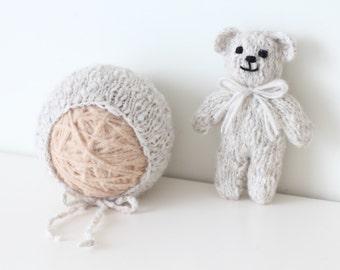 Newborn bear - Newborn props - Photo prop bear - Newborn set - Photo prop boy - Newborn beat hat - photography prop - Grey - Baby boy