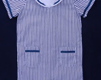 Navy blue and white stripes shorts overalls - 18 months old