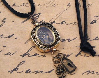 Victorian Cameo Pendant in Antiqued Gold Watchcase, Cameo Necklace, Steampunk Jewelry, Lock and Key Pendant, Gift for Her