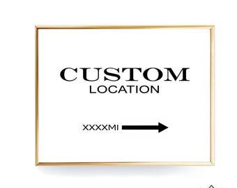 Custom Prada Marfa Print Custom Coordinates Custom Location Print Digital Prints Travel Poster Wedding Custom Sign Location Poster City Sign