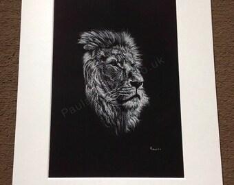 Majestic Lion Portrait A4 Giclee Fine Art Print - pastel