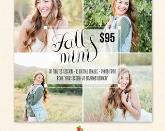 INSTANT DOWNLOAD - Fall Mini Session Marketing board Photoshop template - MA160
