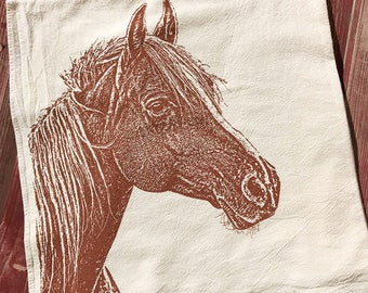 Horse Tea Towel, Horse Kitchen Towel - Hand Printed Flour Sack Tea Towel (Unbleached Cotton)