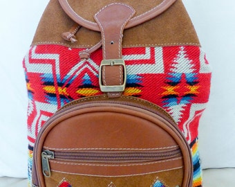 Medium Size Handmade Brown Leather Suede Backpack with Fabric Print