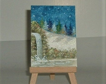 aceo winter falls painting (ref E201)