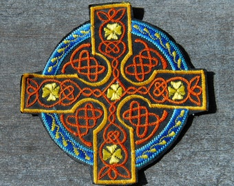 Celtic cross Patch Applique Embroidered for Crafting