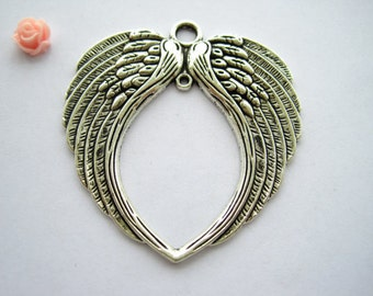 2 Antique Bronze Silver Wing Charms Pendants H29591