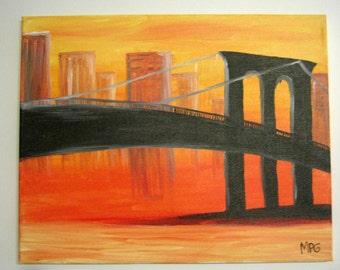 Brooklyn Bridge Painting, Brooklyn Bridge Art, NYC Art, New York City art, Abstract Painting, Bridge Painting, Wall art, Wall Decor, city