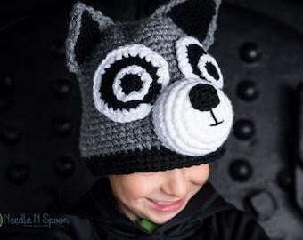 Crochet raccoon hat, raccoon hat, crochet raccoon, animal hat, crochet hat