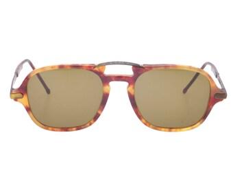 Trussardi stylish and unusual double bridge havana bronze aviator sunglasses, NOS 1980s