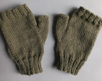 Adult mixed hand knitted mittens