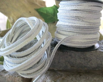 White Split Suede Lace Jewelry Leather Lacing Cord 3MM 5 Yards