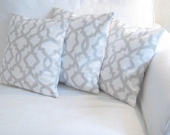 neutral pillows, decorative pillows, 16 x 16 grey pillows, grey pillow covers, grey trellis pillows, grey white pillow, 14 in pillow cover