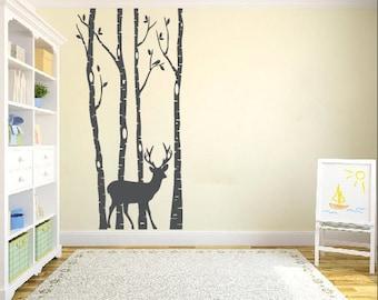 Birch Tree Wall Decals, Birch Tree Decals, deer wall decal,Nursery Wall Decals, Children's room wall decals