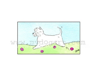 Whimsical West  Highland white terrier  WESTIE print 5x7