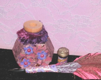SAKURA QUILL Pink Purple, Ink and POT with Your Choice of Ink,  Handmade, Cherry Blossom