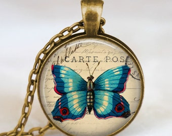 Art deco blue Butterfly pendant , art deco butterfly necklace , butterfly jewelry ,spring summer jewelry, butterfly charm necklace
