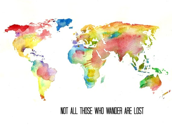 Watercolor world map art print tolkien quote illustration gumiabroncs Gallery