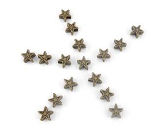 metal star beads 20 x bronze 6x6mm (75)