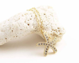 Starfish Necklace ~ Pave Cubic Zirconia Starfish ~ Summer Jewelry ~ Gift for Her ~ Beach Wedding ~ Simple Modern Jewelry by PetitBlue