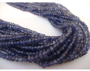 Wholesale 5 Strands Iolite Lot - Iolite Micro Faceted Rondelles - 3mm - 13 Inches Each