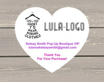 120 Large White Heart Printed Customer Thank You Stickers Seals Can be used on your Lula packages