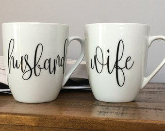 Husband and Wife Mugs - Bride and Groom Gift - His and Hers Bridal Shower Engagement Gift - Wedding Gift for the Couple - His and Hers Mugs