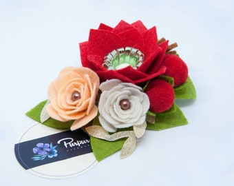 Red flower hairpin