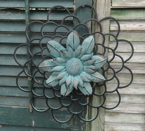 Sunflower Metal Wall Decor Flower of Life Distressed Art