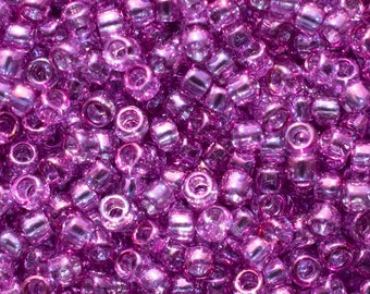 15/0 Gold Lined Dark Amethyst Toho Seed Beads - Gold Lined Dark Amethyst Toho Seed Beads - 3938- Color # 15-205 - 5 Grams