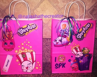 Pink Shopkins handmade individual party favor bags, party bags, Shopkins