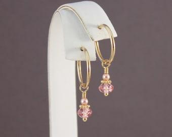 Clip on hoop earrings, Swarovski Rose Peach with TierraCast spacers by EarthsOpulence