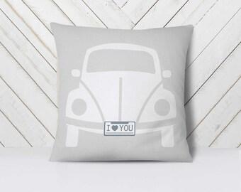 Volkswagen Pillow, WV Pillow, VW bus pillow, VW beetle, Volkswagen Beetle, Volkswagen Art, Volkswagen Baby, Vintage Car Decor // 18x18in