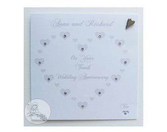 Handmade Personalised Tenth Wedding Anniversary Card Tin Heart Marriage 10th