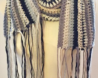 Chunky Long Crochet Scarf, Striped Scarf, Oversized Scarf, Winter Scarf, Grey and Black Scarf, Gift for Him, Gift for Her,